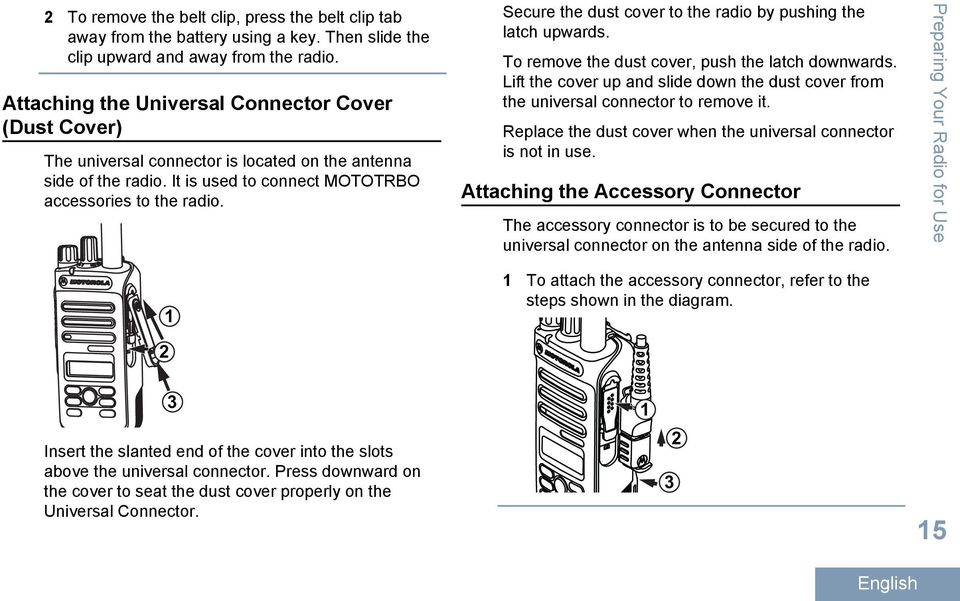 1 Secure the dust cover to the radio by pushing the latch upwards. To remove the dust cover, push the latch downwards.