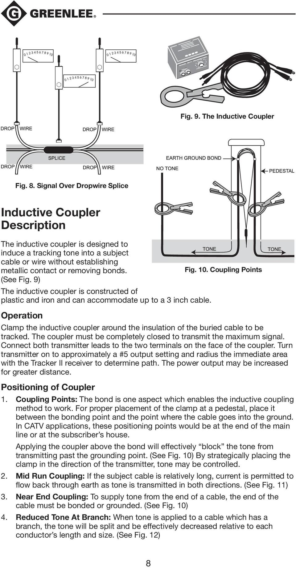 bonds. Fig. 10. Coupling Points (See Fig. 9) The inductive coupler is constructed of plastic and iron and can accommodate up to a 3 inch cable.