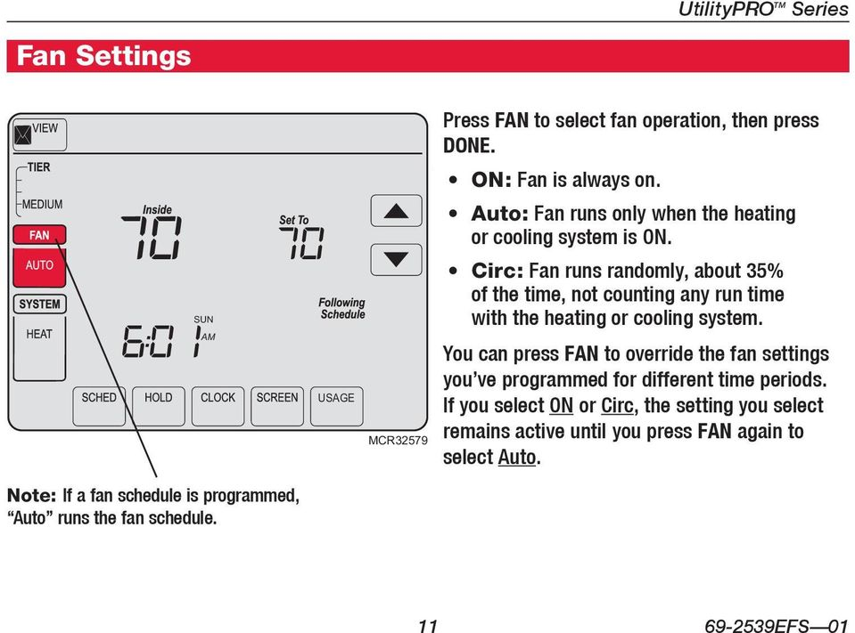 SUN AM Press FAN USAGE MCR32579 Circ: Fan runs randomly, about 35% of the time, not counting any run time with the heating or cooling system.