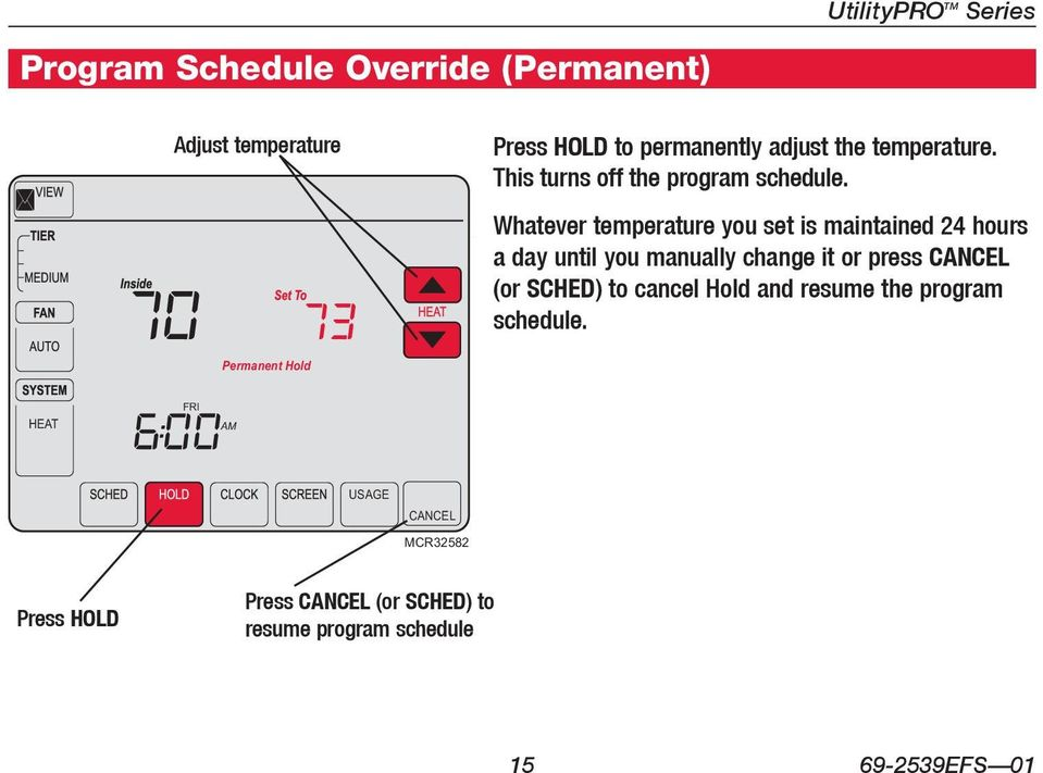 Whatever temperature you set is maintained 24 hours a day until you manually change it or press CANCEL (or SCHED)
