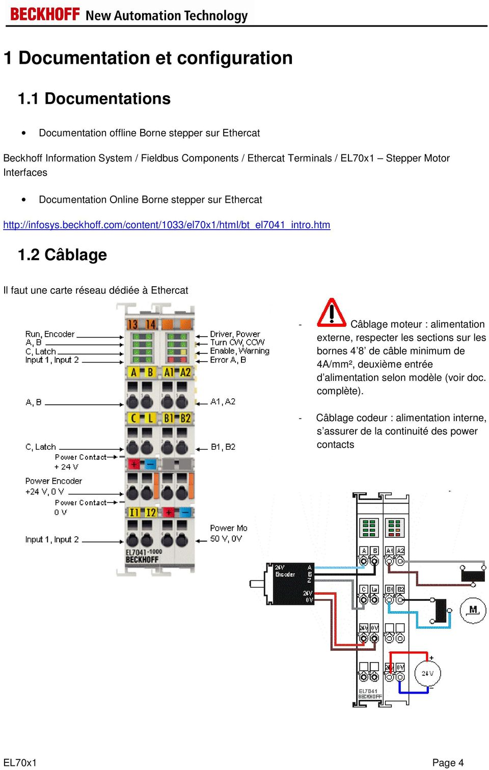 Interfaces Documentation Online Borne stepper sur Ethercat http://infosys.beckhoff.com/content/1033/el70x1/html/bt_el7041_intro.htm 1.