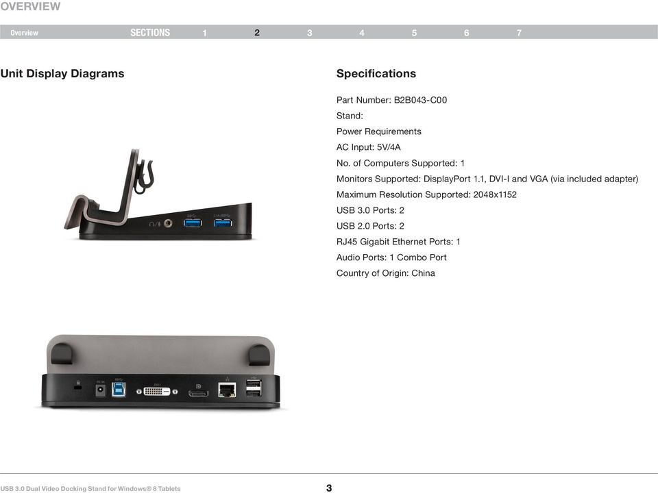 1, DVI-I and VGA (via included adapter) Maximum Resolution Supported: 2048x1152 USB 3.0 Ports: 2 USB 2.