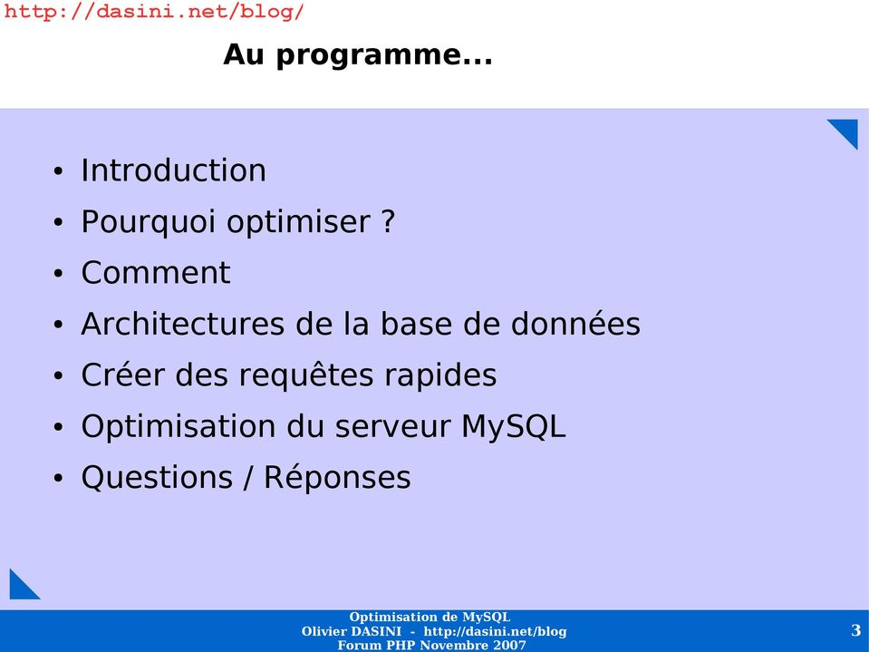 Comment Architectures de la base de