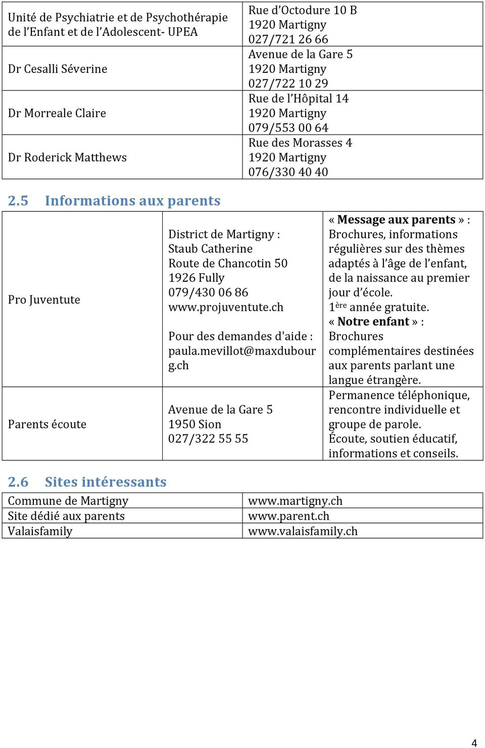 5 Informations aux parents Pro Juventute Parents écoute District de Martigny : Staub Catherine Route de Chancotin 50 1926 Fully 079/430 06 86 www.projuventute.ch Pour des demandes d'aide : paula.