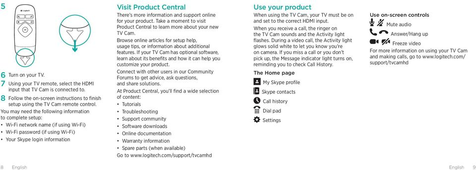 information and support online for your product. Take a moment to visit Product Central to learn more about your new TV Cam.