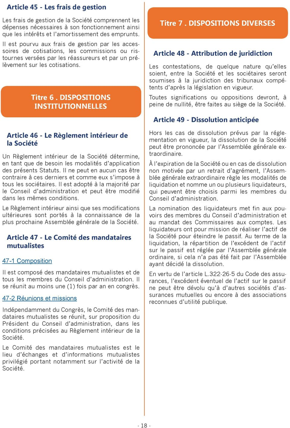 DISPOSITIONS INSTITUTIONNELLES Titre 7.
