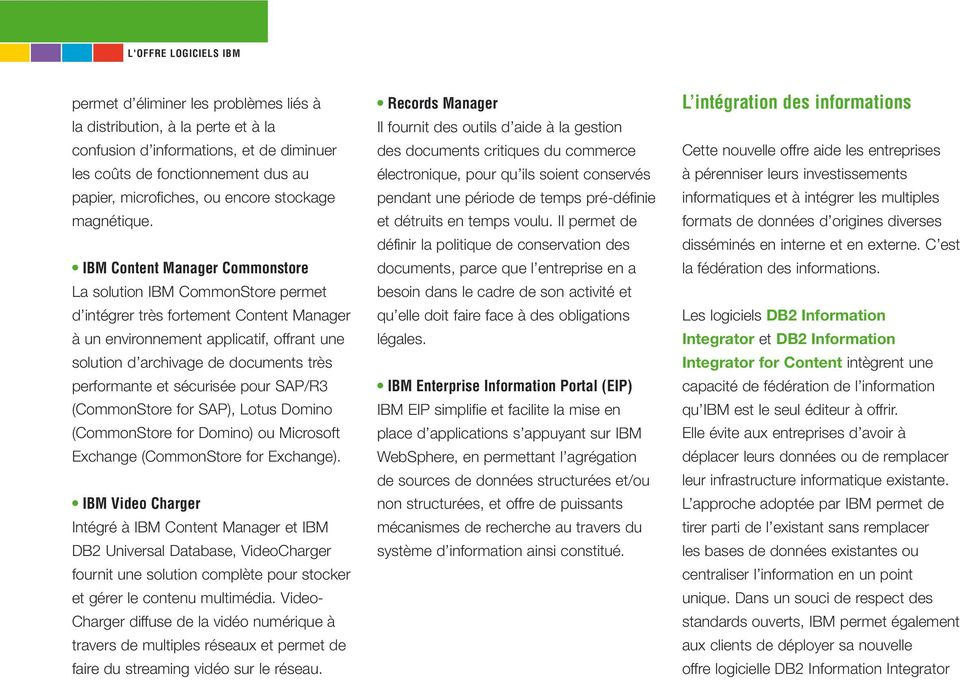 IBM Content Manager Commonstore La solution IBM CommonStore permet d intégrer très fortement Content Manager à un environnement applicatif, offrant une solution d archivage de documents très