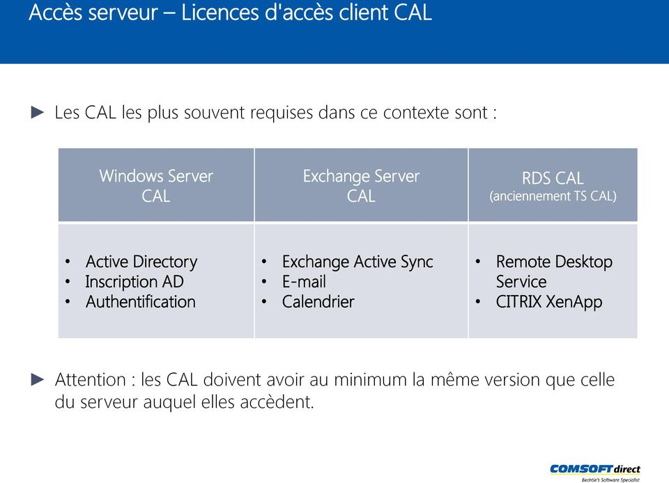 AD Authentification Exchange Active Sync E-mail Calendrier Remote Desktop Service CITRIX XenApp