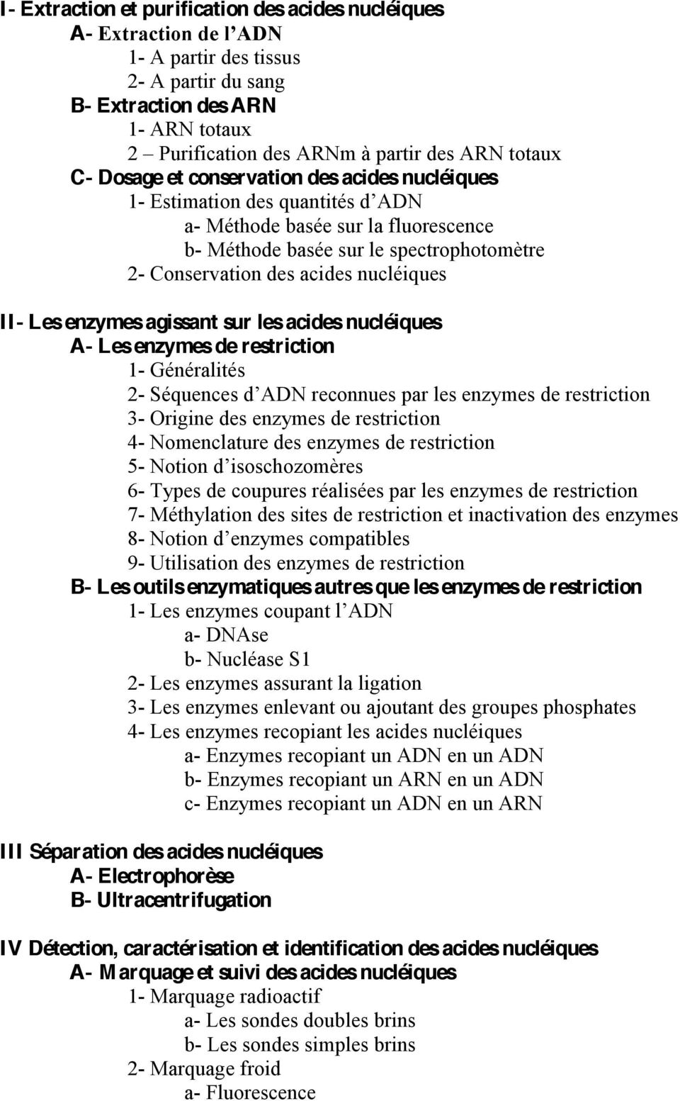 acides nucléiques A- Les enzymes de restriction 1- Généralités 2-3- Origine des enzymes de restriction 4- Nomenclature des enzymes de restriction 5-6- Types de coupures réalisées par les enzymes de