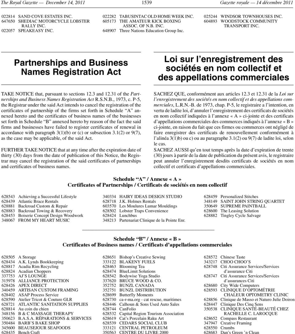 604893 WOODSTOCK COMMUNITY TRANSPORT INC. Partnerships and Business Names Registration Act TAKE NOTICE that, pursuant to sections 12.3 and 12.