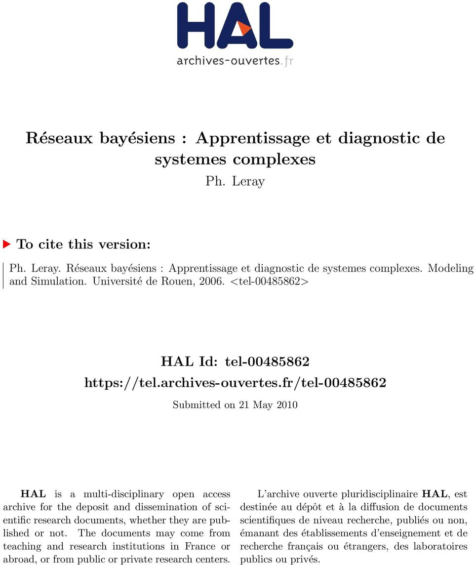 fr/tel-00485862 Submitted on 21 May 2010 HAL is a multi-disciplinary open access archive for the deposit and dissemination of scientific research documents, whether they are published or not.