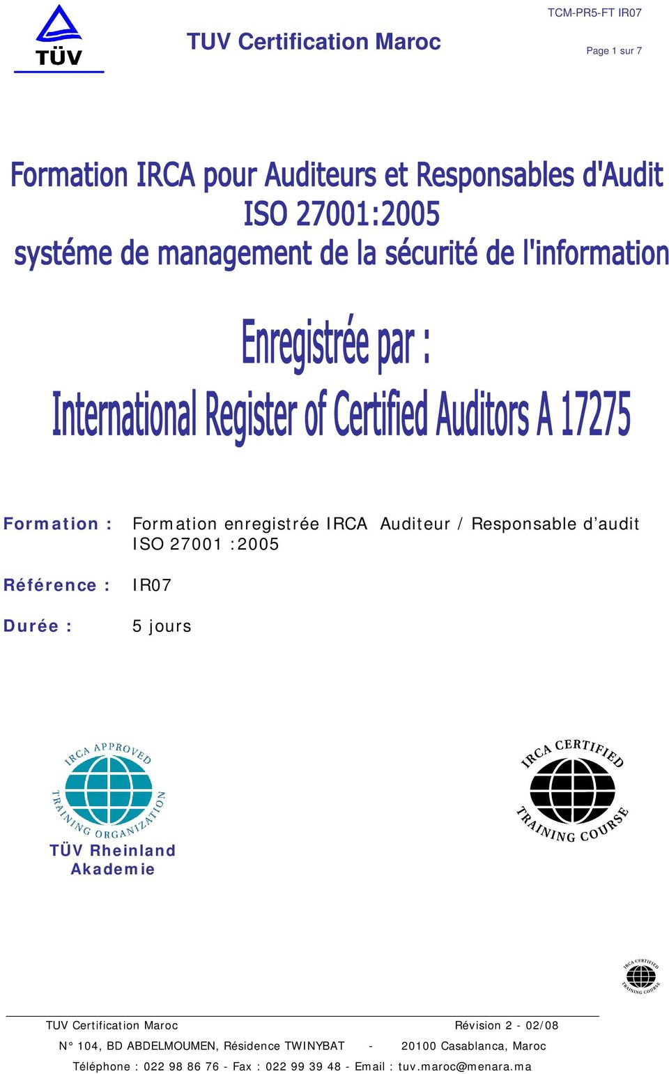 Auditeur / Responsable d audit ISO