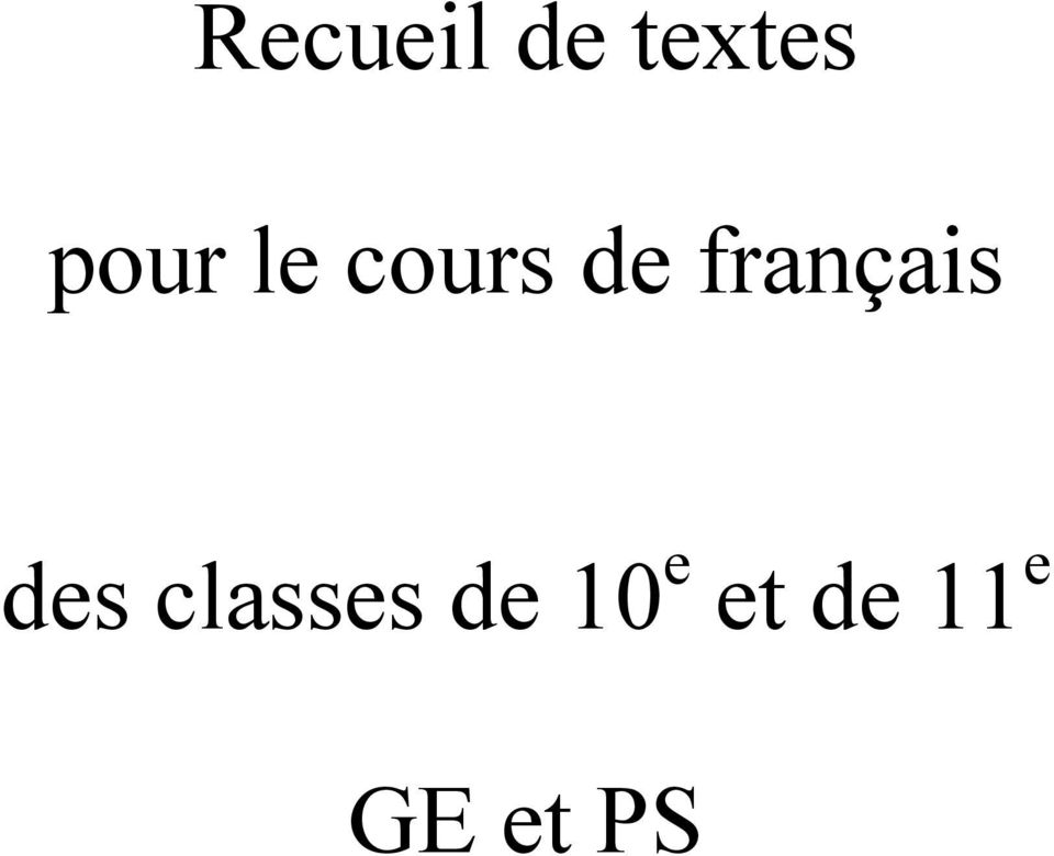 français des classes