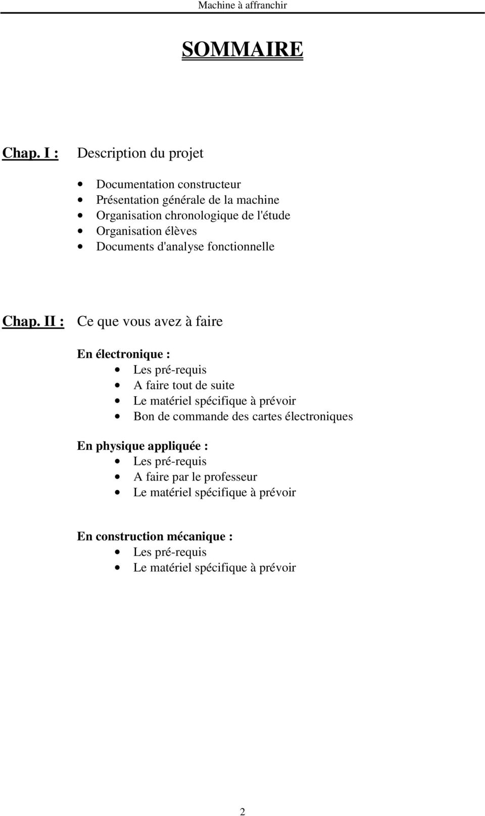 Organisation élèves Documents d'analyse fonctionnelle Chap.