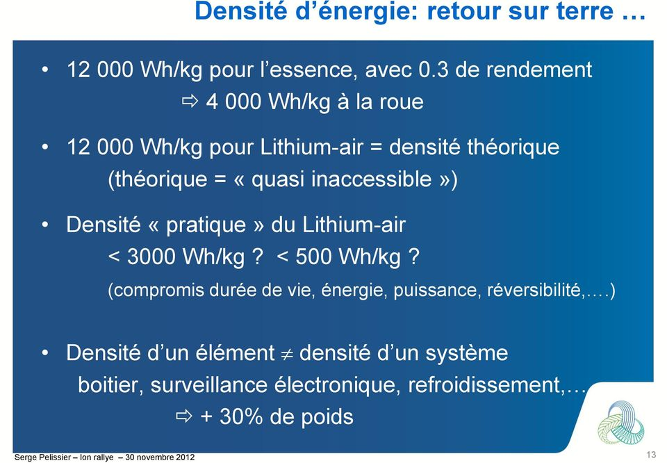 inaccessible») Densité «pratique» du Lithium-air < 3000 Wh/kg? < 500 Wh/kg?