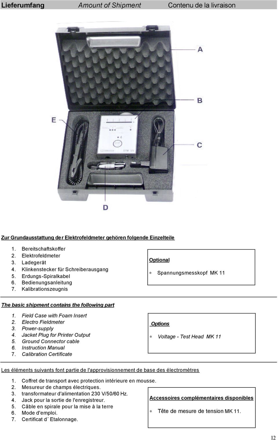 Field Case with Foam Insert 2. Electro Fieldmeter 3. Power-supply 4. Jacket Plug for Printer Output 5. Ground Connector cable 6. Instruction Manual 7.