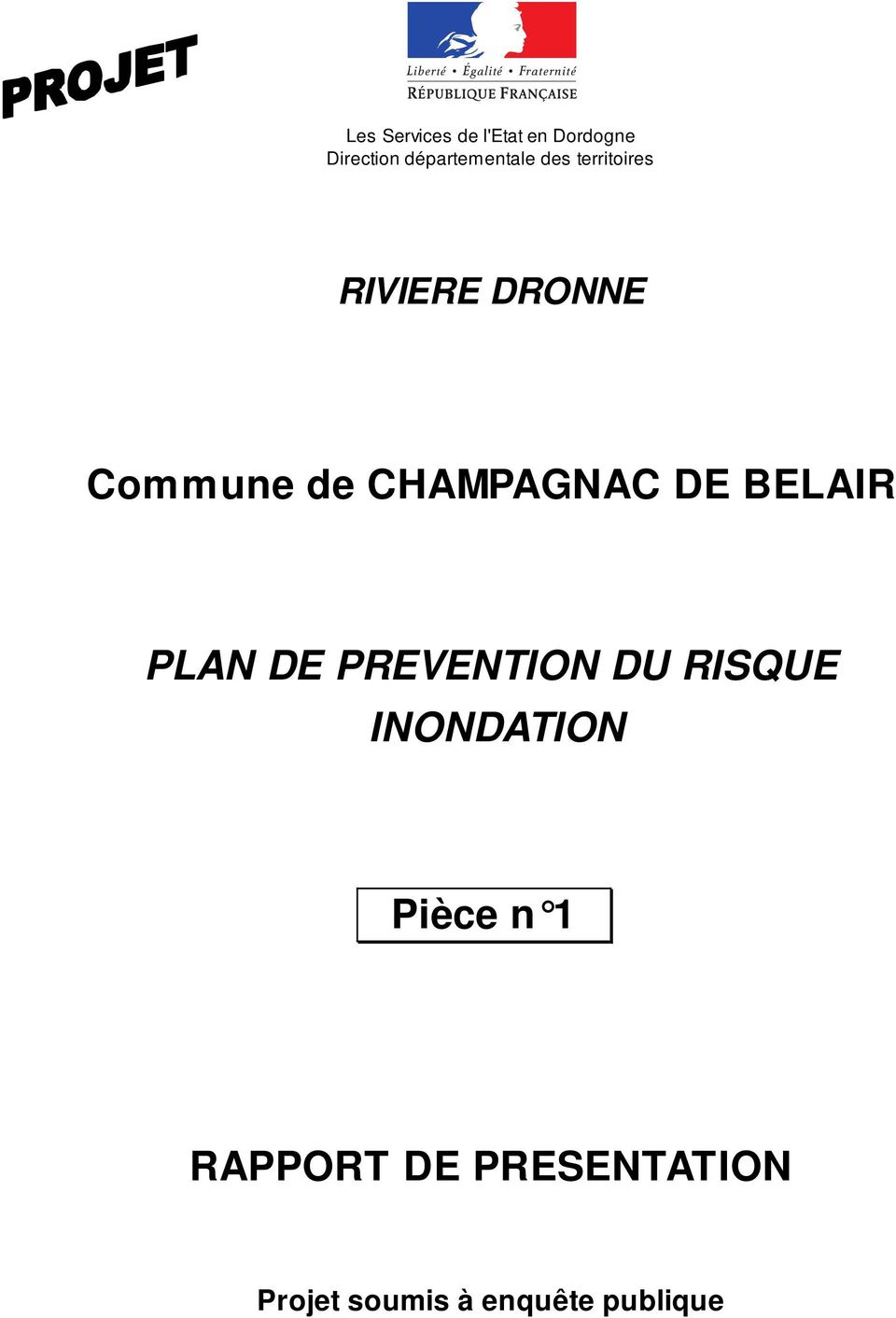 CHAMPAGNAC DE BELAIR PLAN DE PREVENTION DU RISQUE