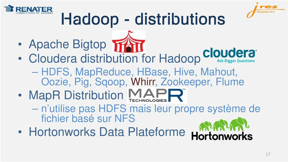 Whirr, Zookeeper, Flume MapR Distribution n utilise pas HDFS mais