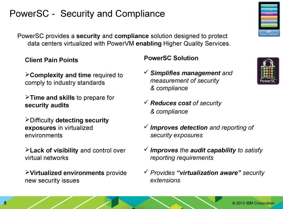 security audits 5 Reduces cost of security & compliance Difficulty detecting security exposures in virtualized environments Improves detection and reporting of security exposures Lack of
