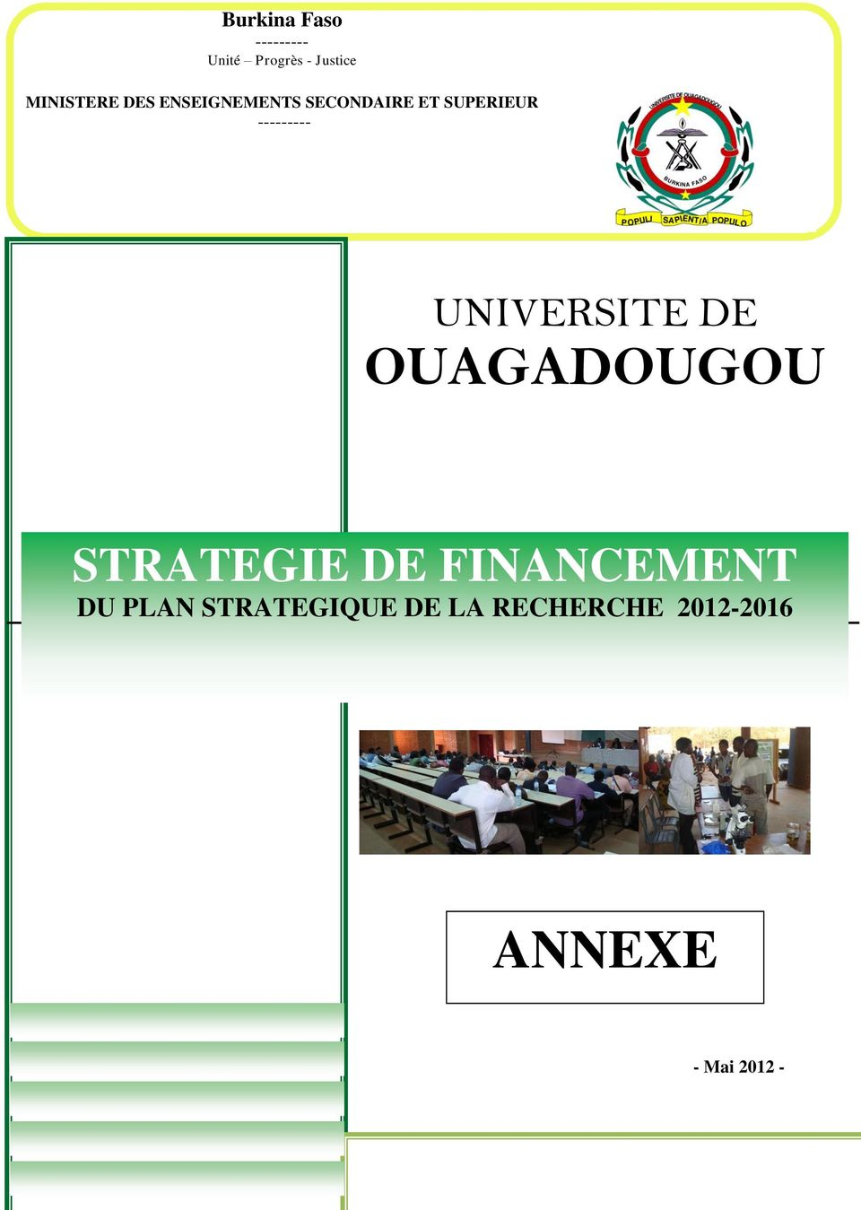UNIVERSITE DE OUAGADOUGOU STRATEGIE DE FINANCEMENT DU