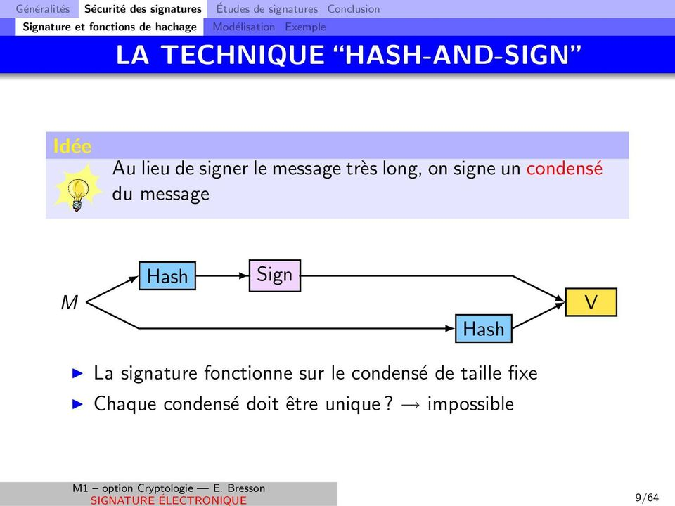 très long, on signe un condensé du message M Hash Sign Hash V La signature fonctionne sur le