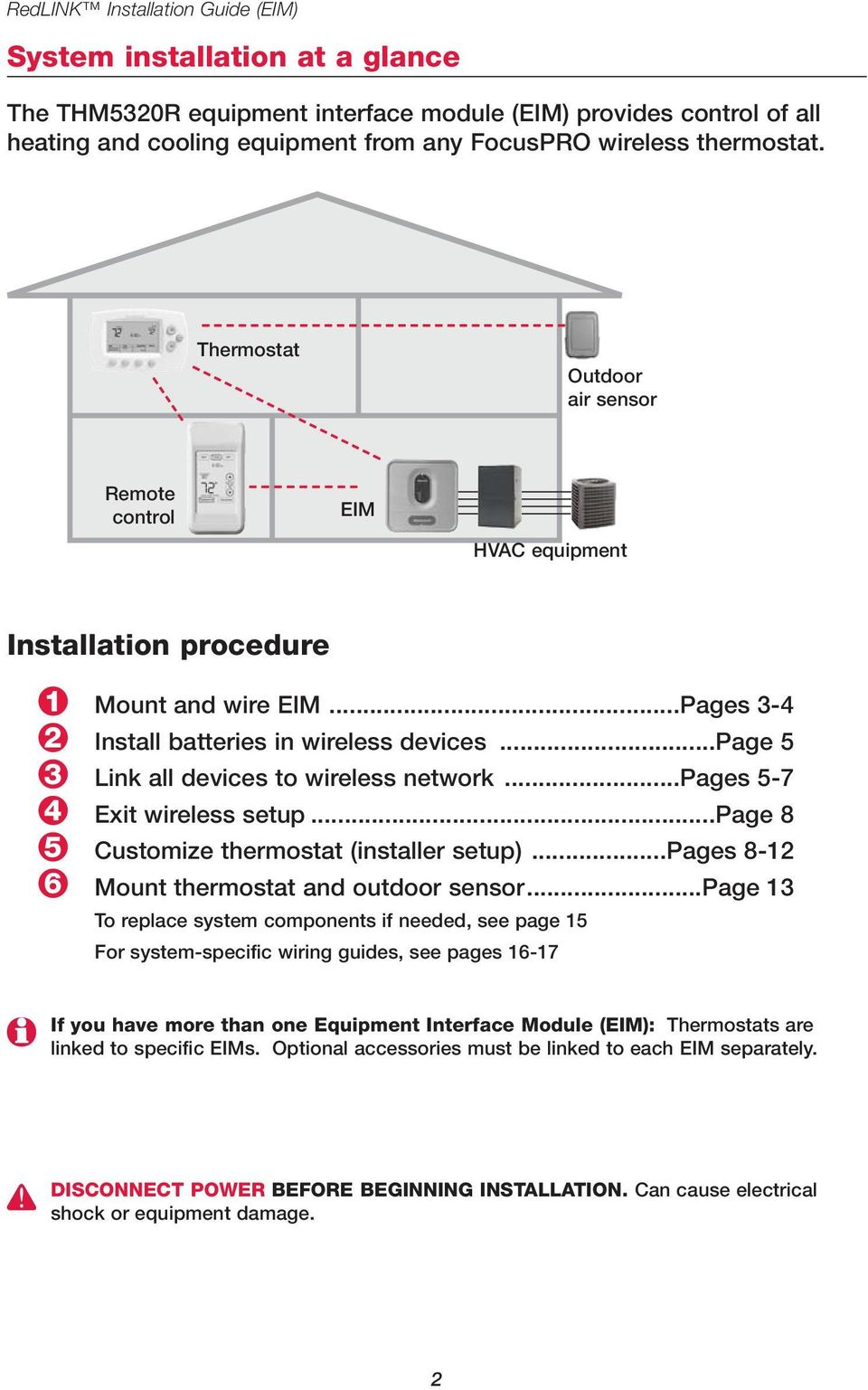 ..page 5 Link all devices to wireless network...pages 5-7 Exit wireless setup...page 8 Customize thermostat (installer setup)...pages 8-12 Mount thermostat and outdoor sensor.