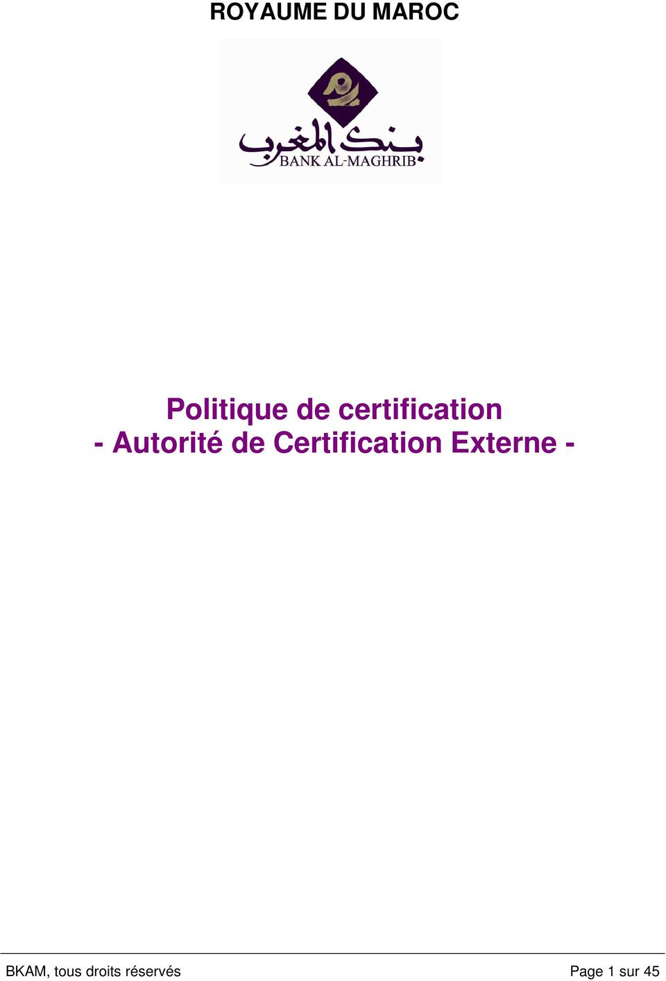 Certification Externe - BKAM,