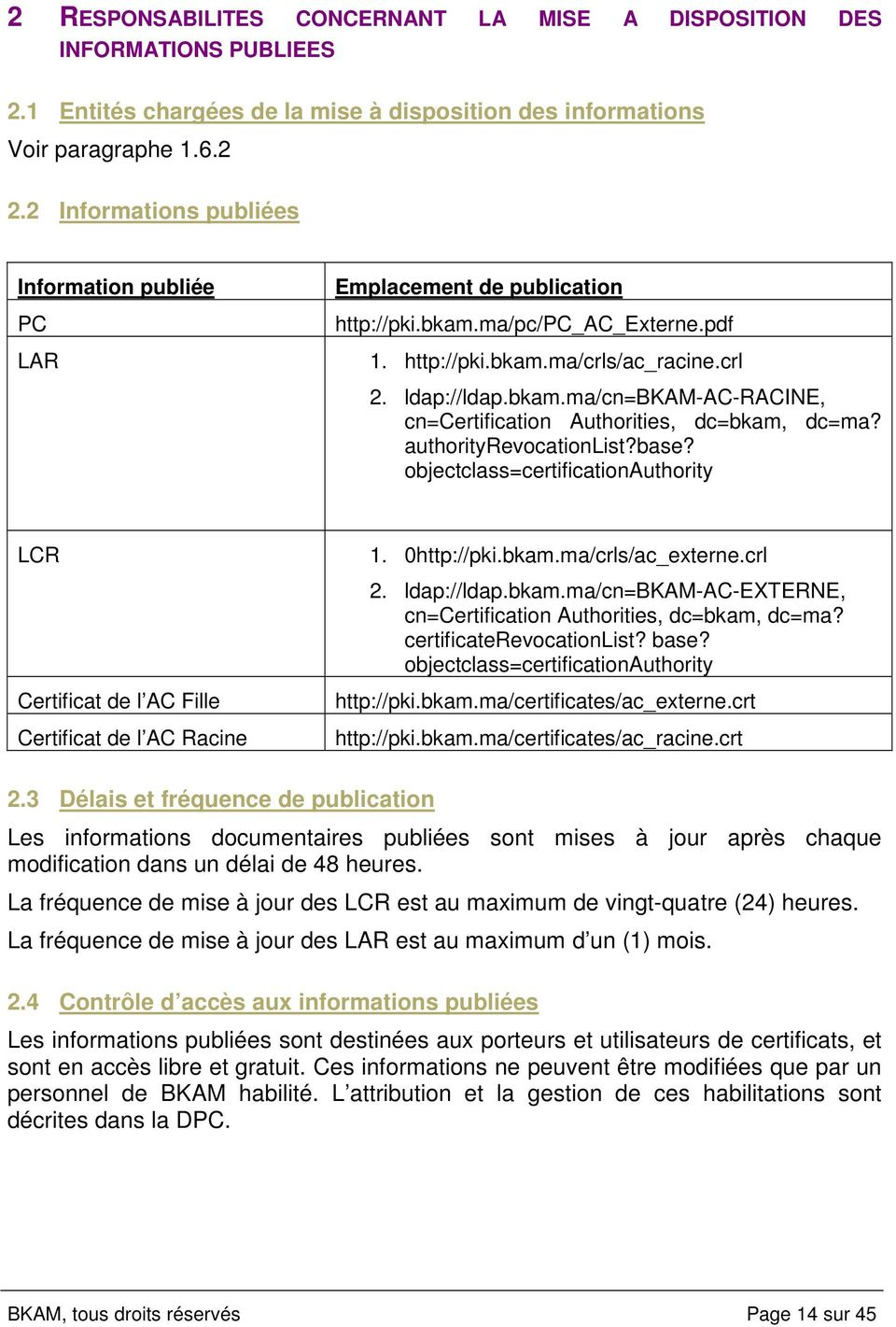 authorityrevocationlist?base? objectclass=certificationauthority LCR Certificat de l AC Fille Certificat de l AC Racine 1. 0http://pki.bkam.