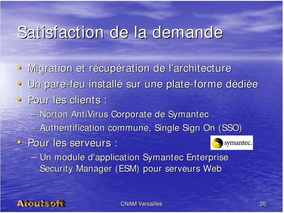 Symantec Authentification commune, Single Sign On (SSO) Pour les serveurs : Un module