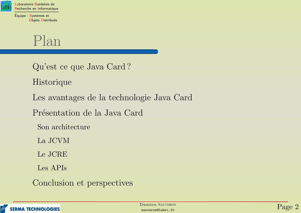 technologie Java Card Son architecture