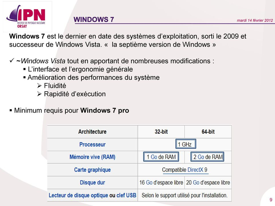 «la septième version de Windows» ~Windows Vista tout en apportant de nombreuses
