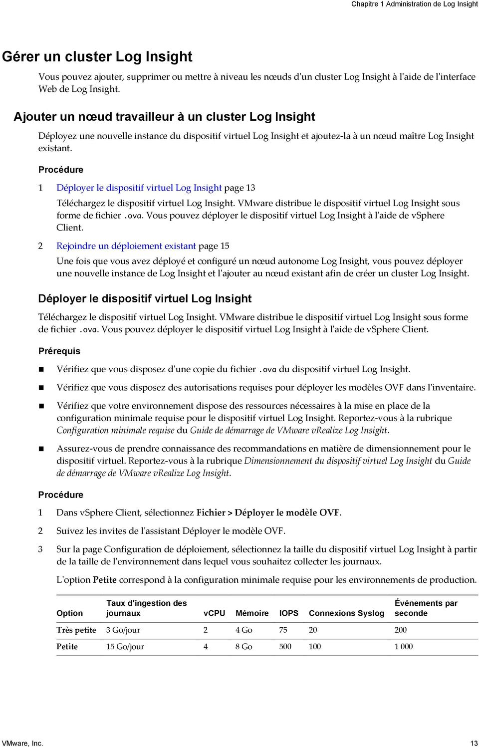 1 Déployer le dispositif virtuel Log Insight page 13 Téléchargez le dispositif virtuel Log Insight. VMware distribue le dispositif virtuel Log Insight sous forme de fichier.ova.