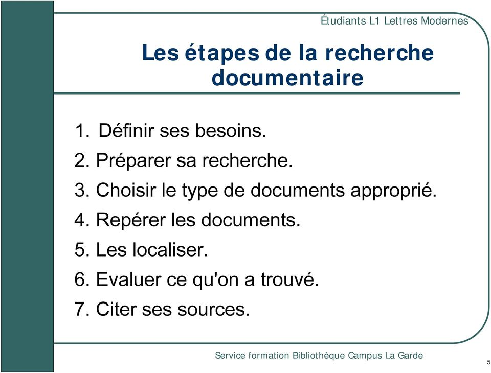 Choisir le type de documents approprié. 4.