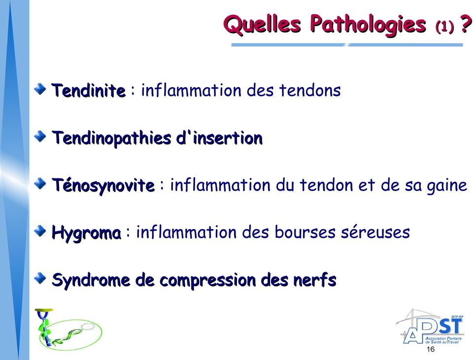 Tendinopathies d'insertion Ténosynovite : Ténosynovite