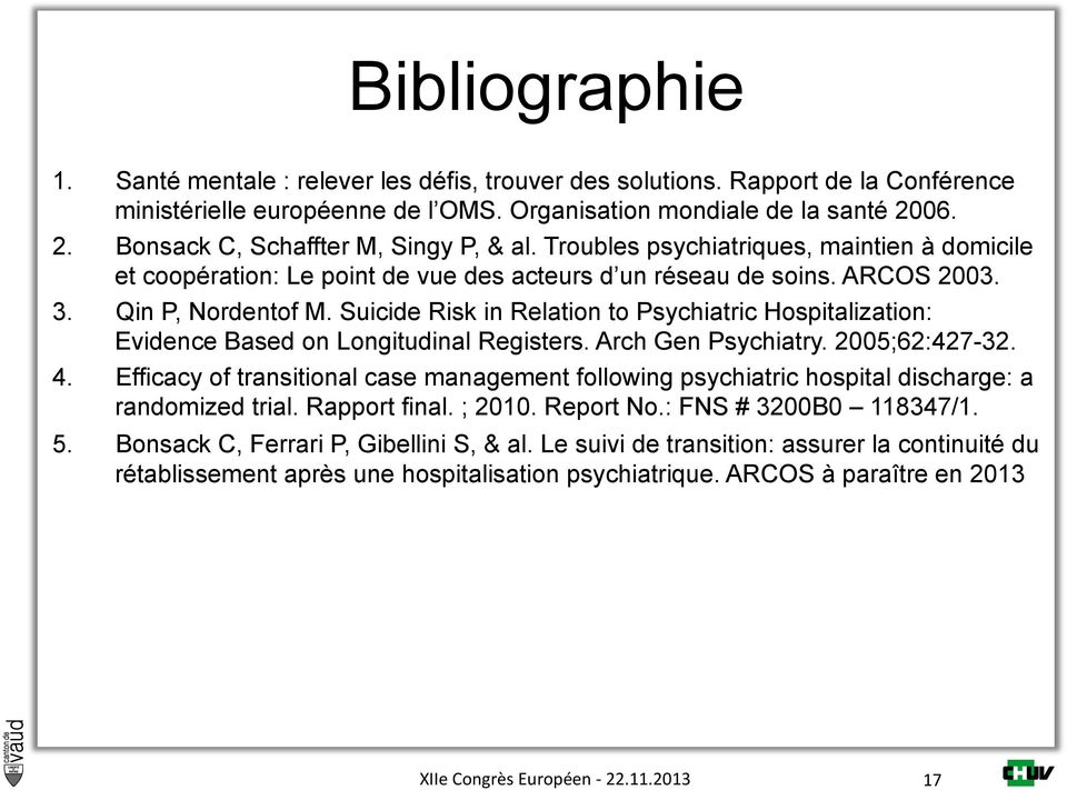 Suicide Risk in Relation to Psychiatric Hospitalization: Evidence Based on Longitudinal Registers. Arch Gen Psychiatry. 2005;62:427-32. 4.