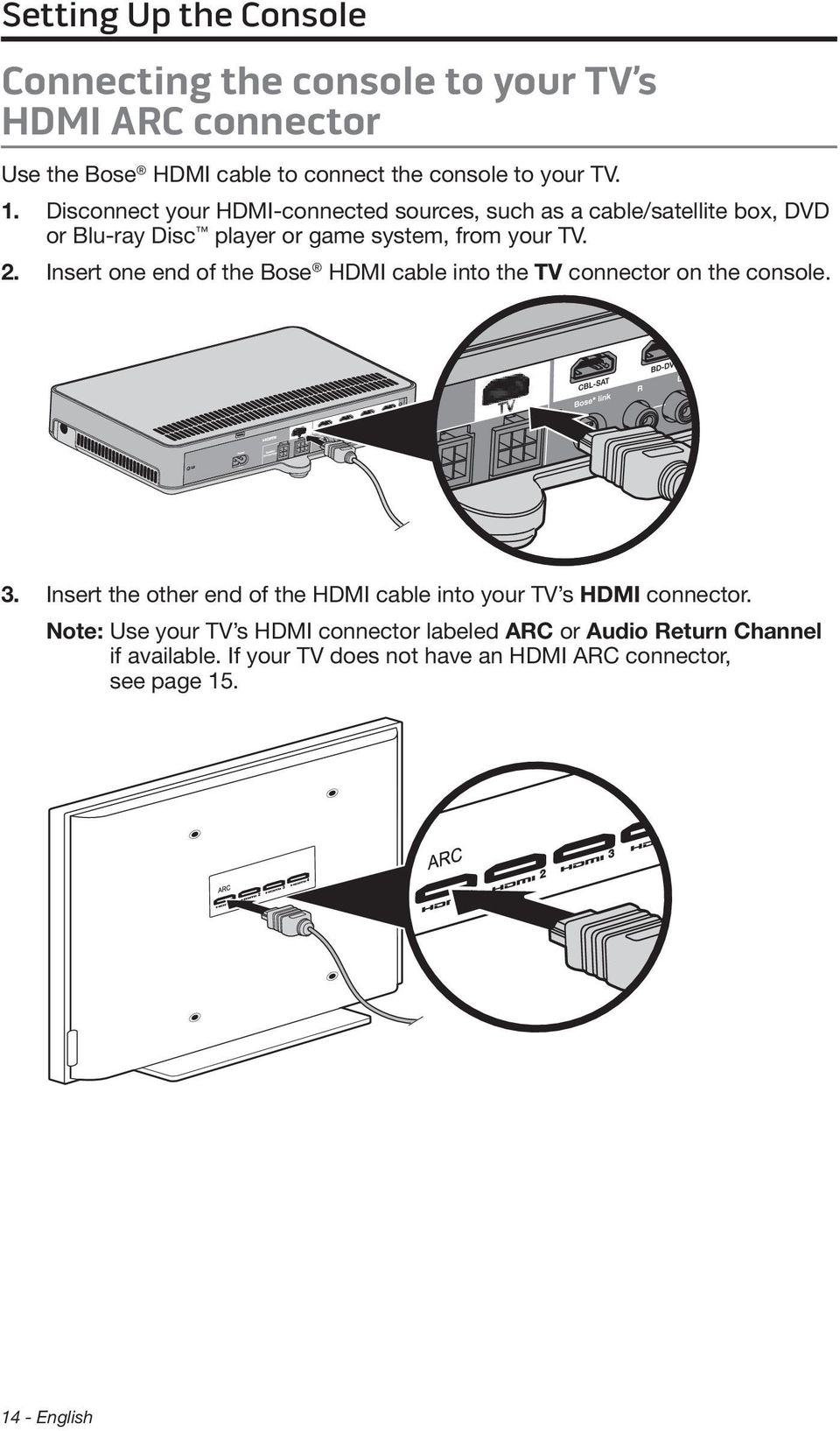 Insert one end of the Bose HDMI cable into the TV connector on the console. 3.