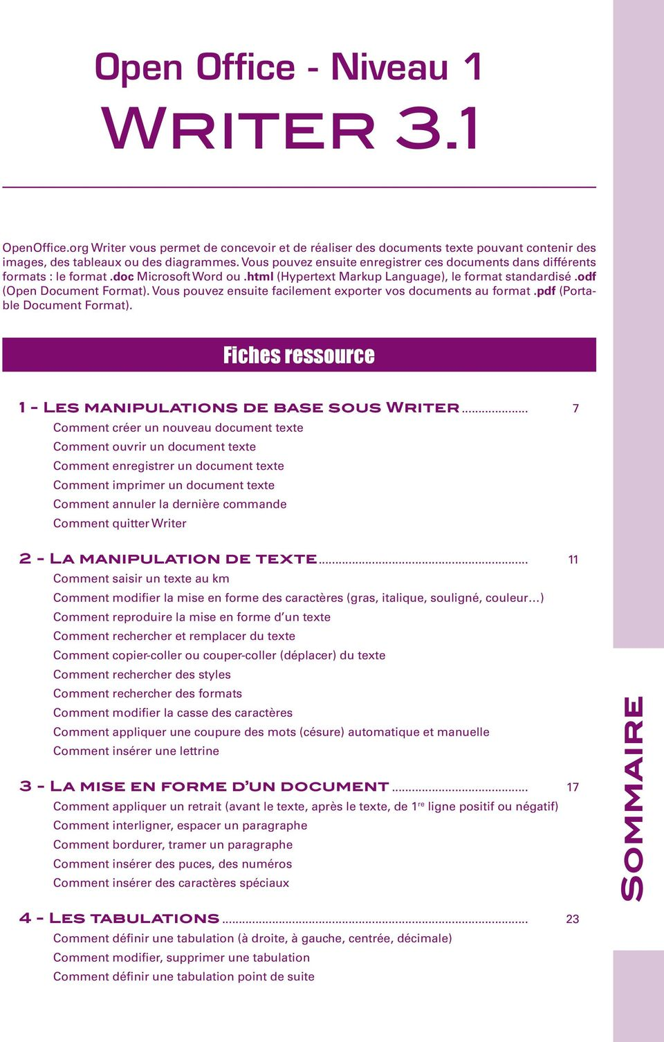 Open office niveau 1 writer pdf - Comment faire un organigramme sur open office writer ...