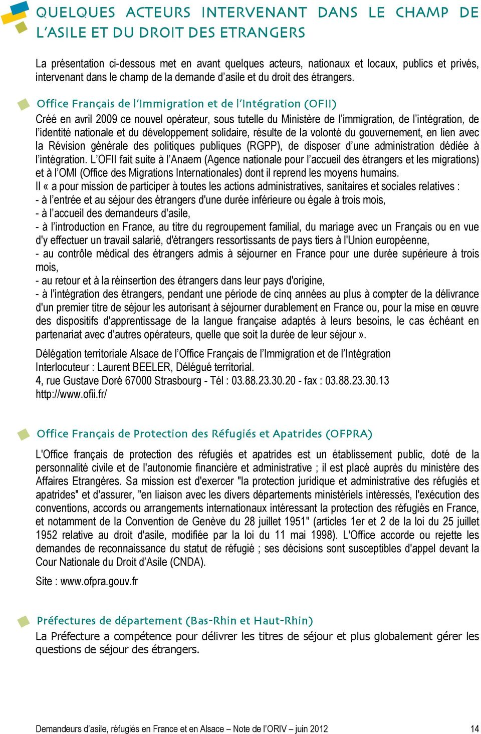 Demandeurs d asile refugies en france et en alsace pdf - Office francaise d immigration et d integration ...