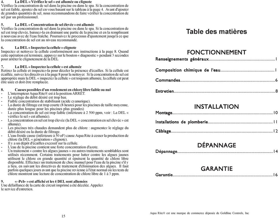 G n rateur de chlore lectronique par pdf for Concentration chlore piscine