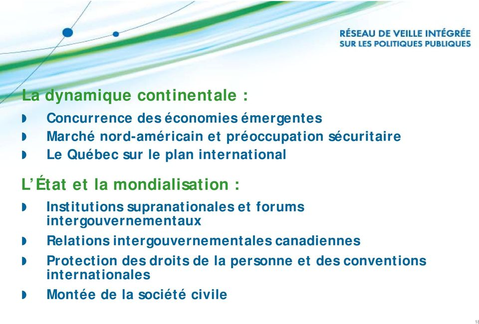 Institutions supranationales et forums intergouvernementaux Relations intergouvernementales