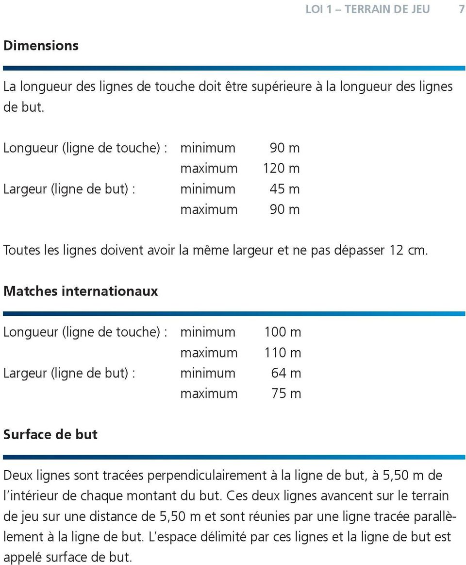 Matches internationaux Longueur (ligne de touche) : minimum 100 m maximum 110 m Largeur (ligne de but) : minimum 64 m maximum 75 m Surface de but Deux lignes sont tracées perpendiculairement à la