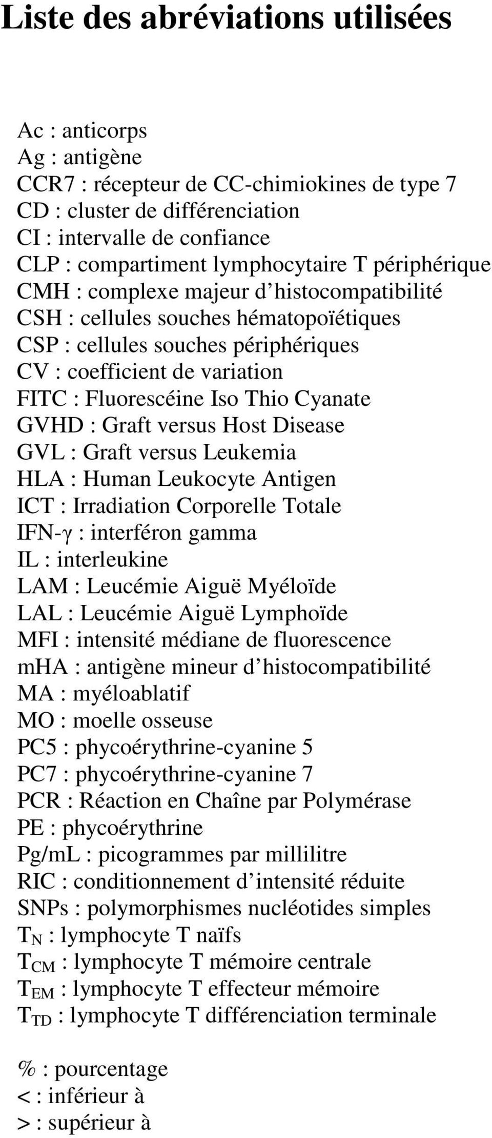Iso Thio Cyanate GVHD : Graft versus Host Disease GVL : Graft versus Leukemia HLA : Human Leukocyte Antigen ICT : Irradiation Corporelle Totale IFN-γ : interféron gamma IL : interleukine LAM :