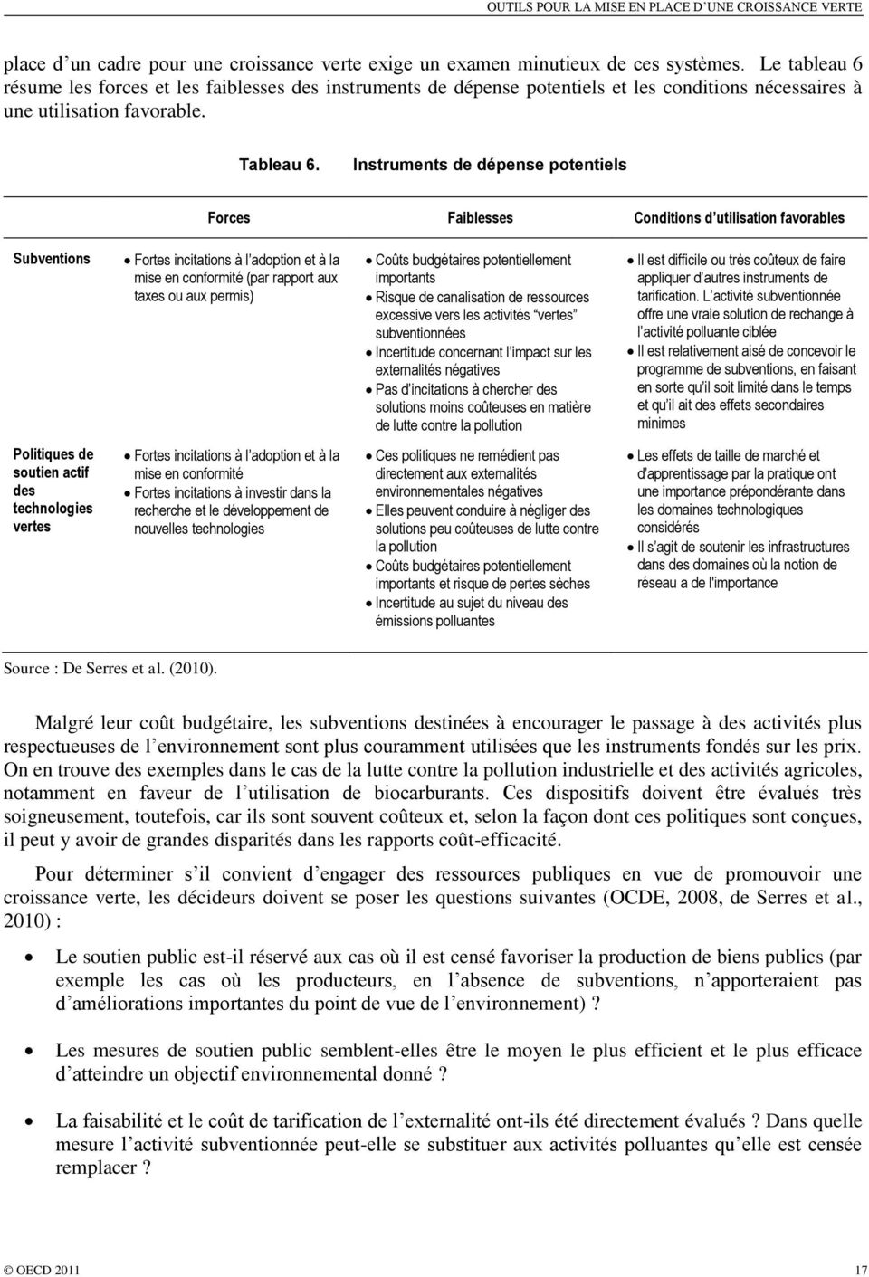 Instruments de dépense potentiels Forces Faiblesses Conditions d utilisation favorables Subventions Fortes incitations à l adoption et à la mise en conformité (par rapport aux taxes ou aux permis)