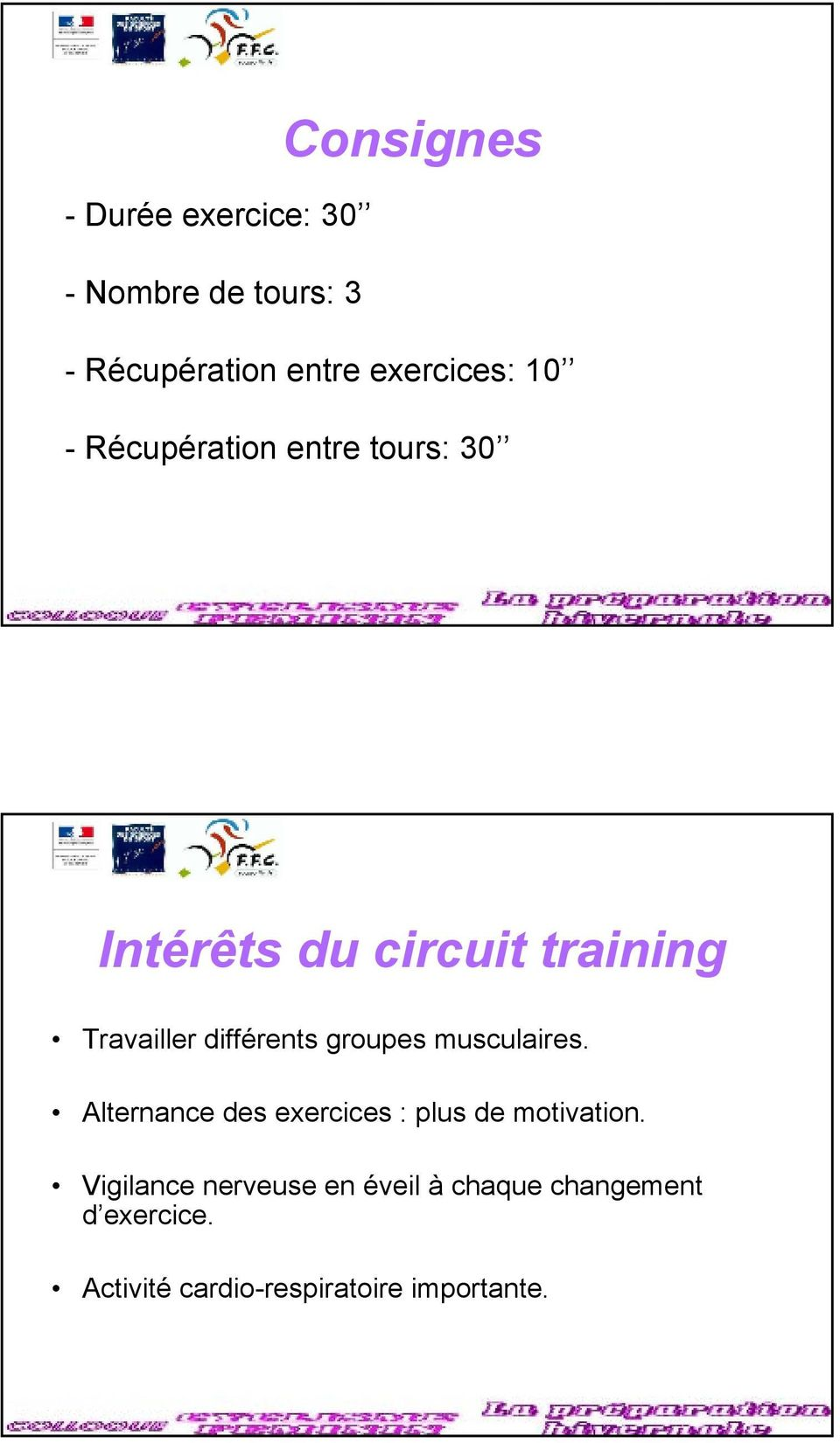 groupes musculaires. Alternance des exercices : plus de motivation.