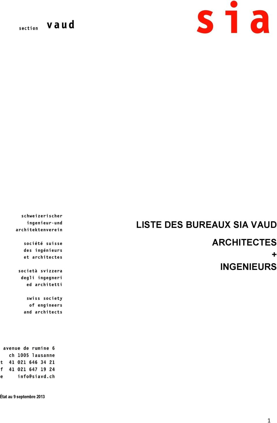 liste des bureaux sia vaud architectes ingenieurs pdf. Black Bedroom Furniture Sets. Home Design Ideas