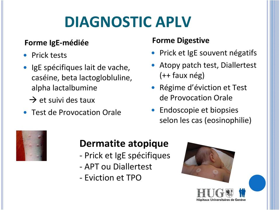 Atopy patch test, Diallertest (++ faux nég) Régime d éviction et Test de Provocation Orale Endoscopie et