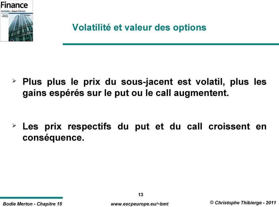 sur le put ou le call augmentent.