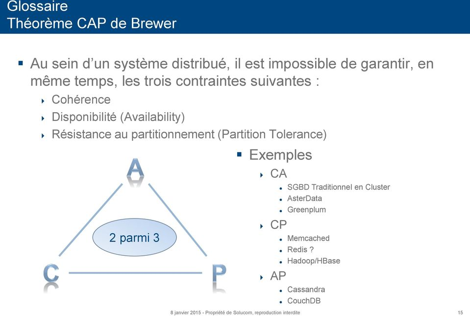 (Availability) Résistance au partitionnement (Partition Tolerance) 2 parmi 3 Exemples CA