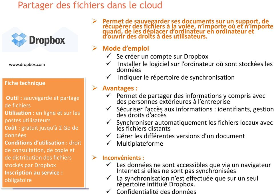 consultation, de copie et de distribution des fichiers stockés par Dropbox Inscription au service : obligatoire Sauvegarder Permet de et partager sauvegarder des fichiers ses : documents sur un
