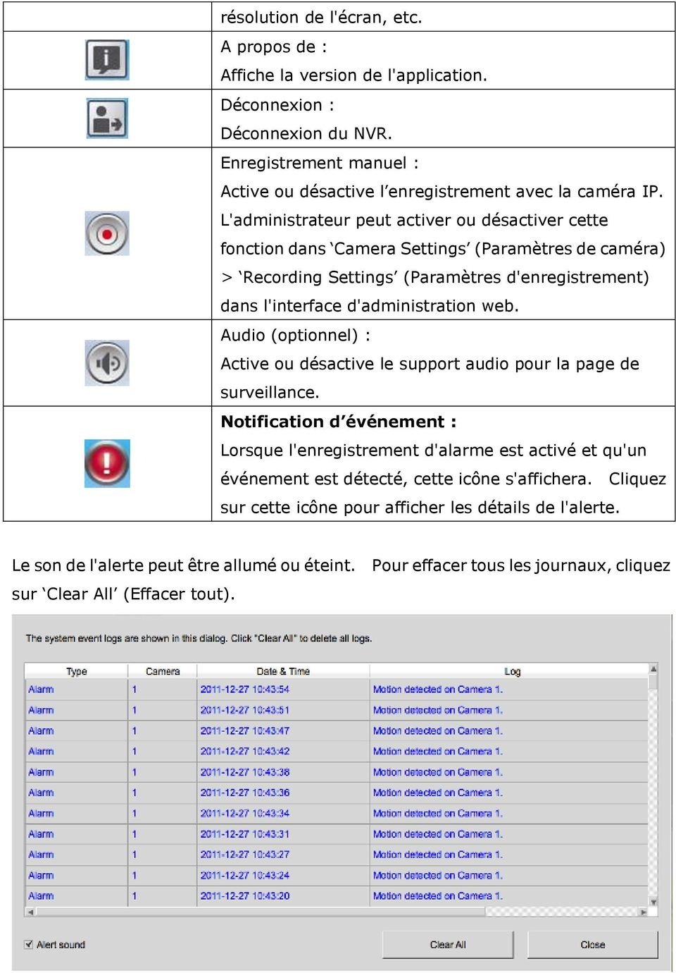 Audio (optionnel) : Active ou désactive le support audio pour la page de surveillance.